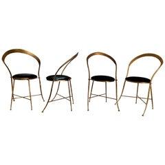 Italian Vintage Banci Iron Gilt Chairs with Black Velvet Seats