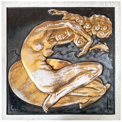 """Mermaid and Dolphin,"" Large, Gold-Glazed Art Deco Sculptural Panel"