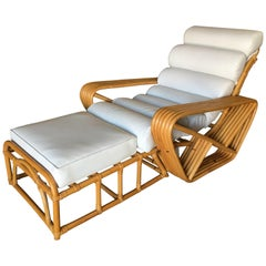 Paul Frankl Style Square Pretzel 6-Strand Rattan Lounge Chair with Ottoman