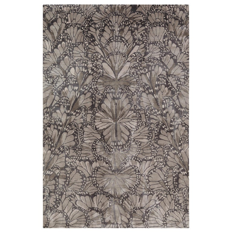 Monarch Smoke Hand-Knotted 12x9 Rug in Silk by Alexander McQueen For Sale