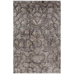 Monarch Smoke Hand Knotted 9x6 Rug in Silk by Alexander McQueen