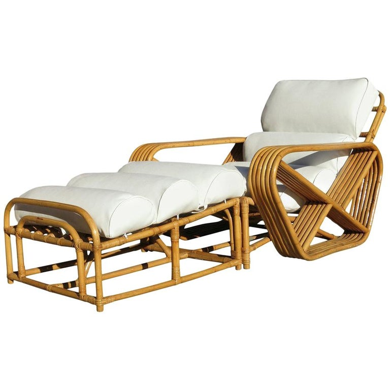 Restored Paul Frankl Style Square Pretzel Rattan Lounge Chair with Ottoman For Sale