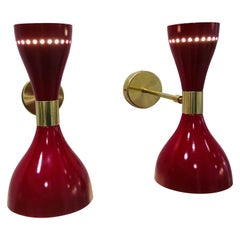 2 Mid-Century Modern Italian Stilnovo Style Enameled Aluminum and Brass Sconces
