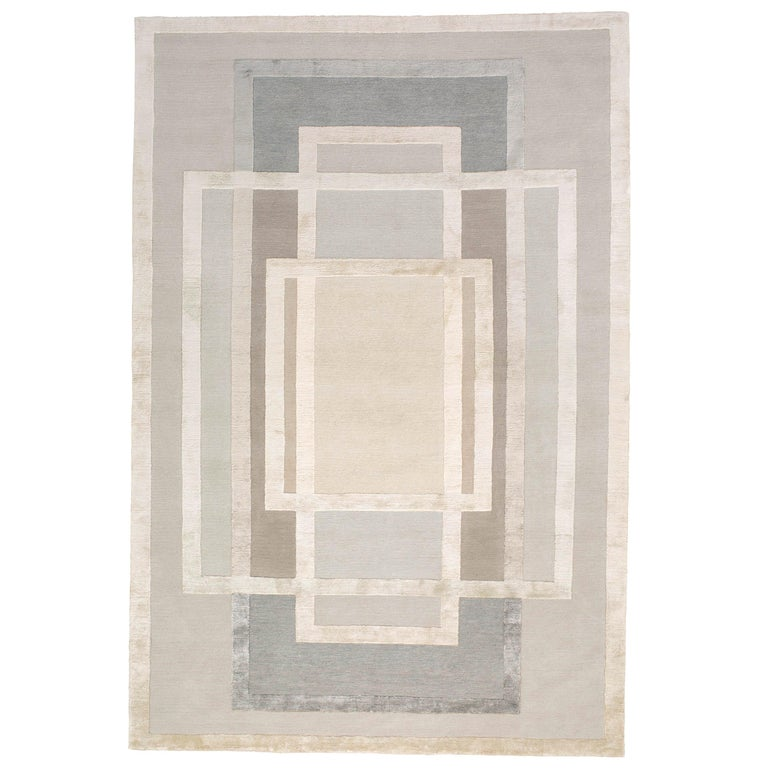 Platinum Hand-Knotted 10x8 Rug in Wool and Silk by David Rockwell For Sale