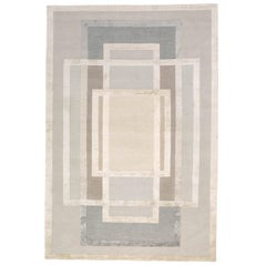 Platinum Hand-Knotted 12x9 Rug in Wool and Silk by David Rockwell