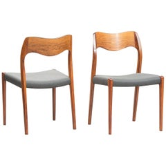 Niels O. Møller Rosewood Dining Chairs, Model 71 by J.L Møllers, Set of Ten