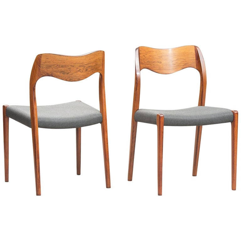 Niels O. Møller Rosewood Dining Chairs, Model 71 by J.L Møllers, Set of Ten For Sale