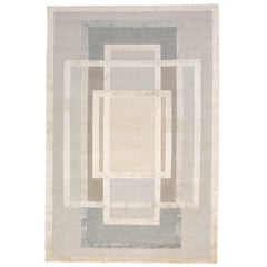 Platinum Hand-Knotted 14x10 Rug in Wool and Silk by David Rockwell