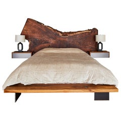 Winston Bed by Casey McCafferty, Claro Walnut Slab Headboard and Nightstands