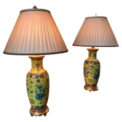 Pair of 19th Century Yellow Chinese Vases Made into Lamps