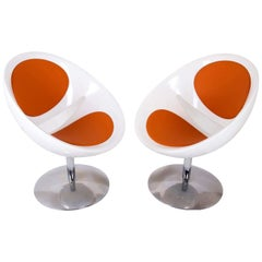 French Vintage Double Mirror Egg Armchairs Designed by Pierre Guariche