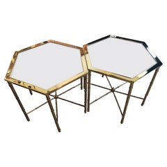 Vintage Pair Polished Brass Mastercraft End Side Beverage Tables Antique Mirror