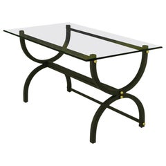 Black Lacquered Steel Curule Base Writing Table with Brass Appointments