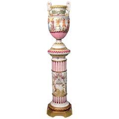 Interesting Late 19th Century Italian Capodimonte Porcelain Vase and Pedestal