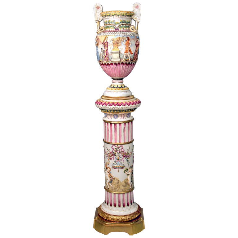 Interesting Late 19th Century Italian Capodimonte Porcelain Vase and Pedestal For Sale