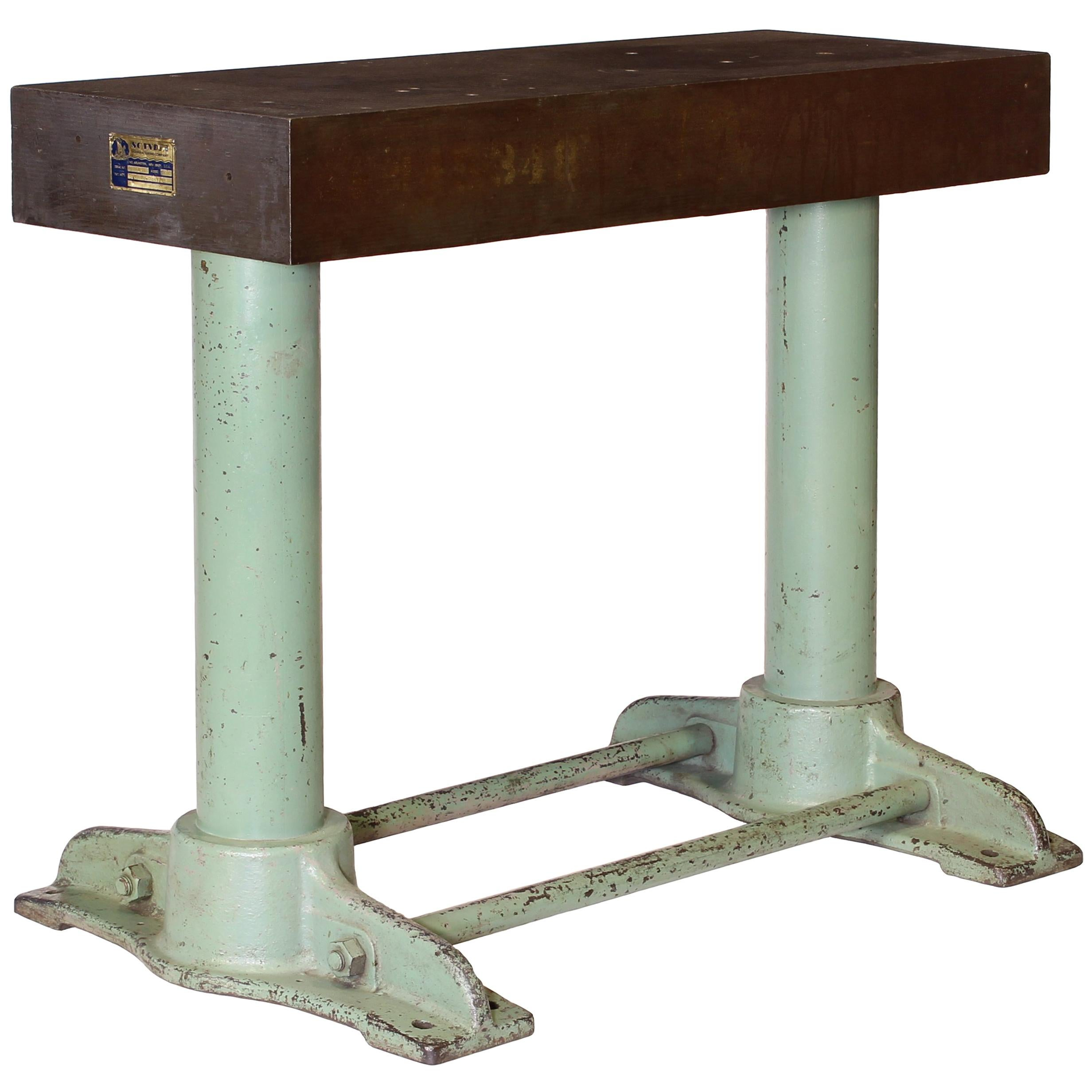 Authentic Vintage Industrial Cast Iron Work Console Table