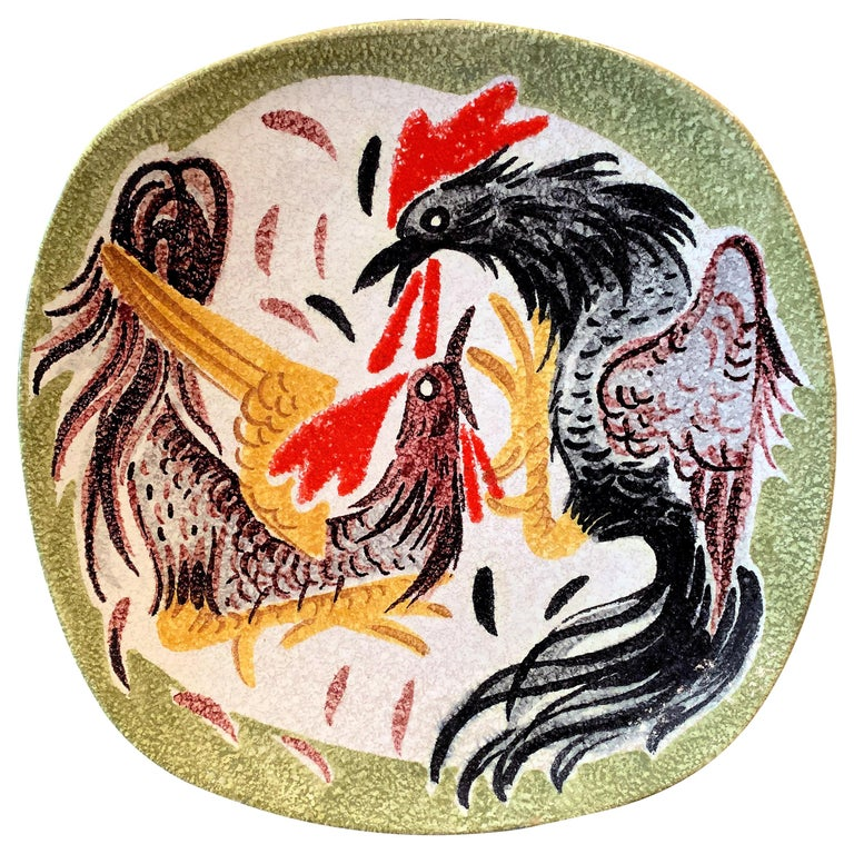 """Cock Fight,"" Brilliant Midcentury Ceramic Bowl in Red, Yellow, White and Green For Sale"