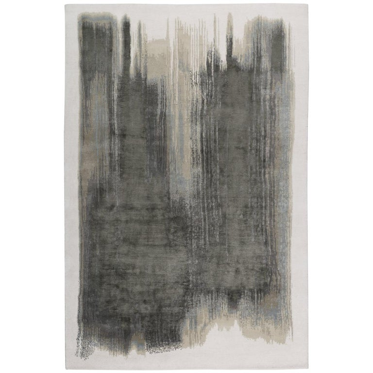 Brushstrokes Hand Knotted 9x6 Rug in Wool and Silk by Elie Saab For Sale