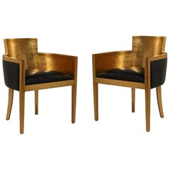 Set of Two Gilded 1920s Lounge Chairs Finished in Metallic Lacquer with Leather