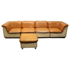 1960s Scandinavian Leather and Linen Modular Sectional Sofa
