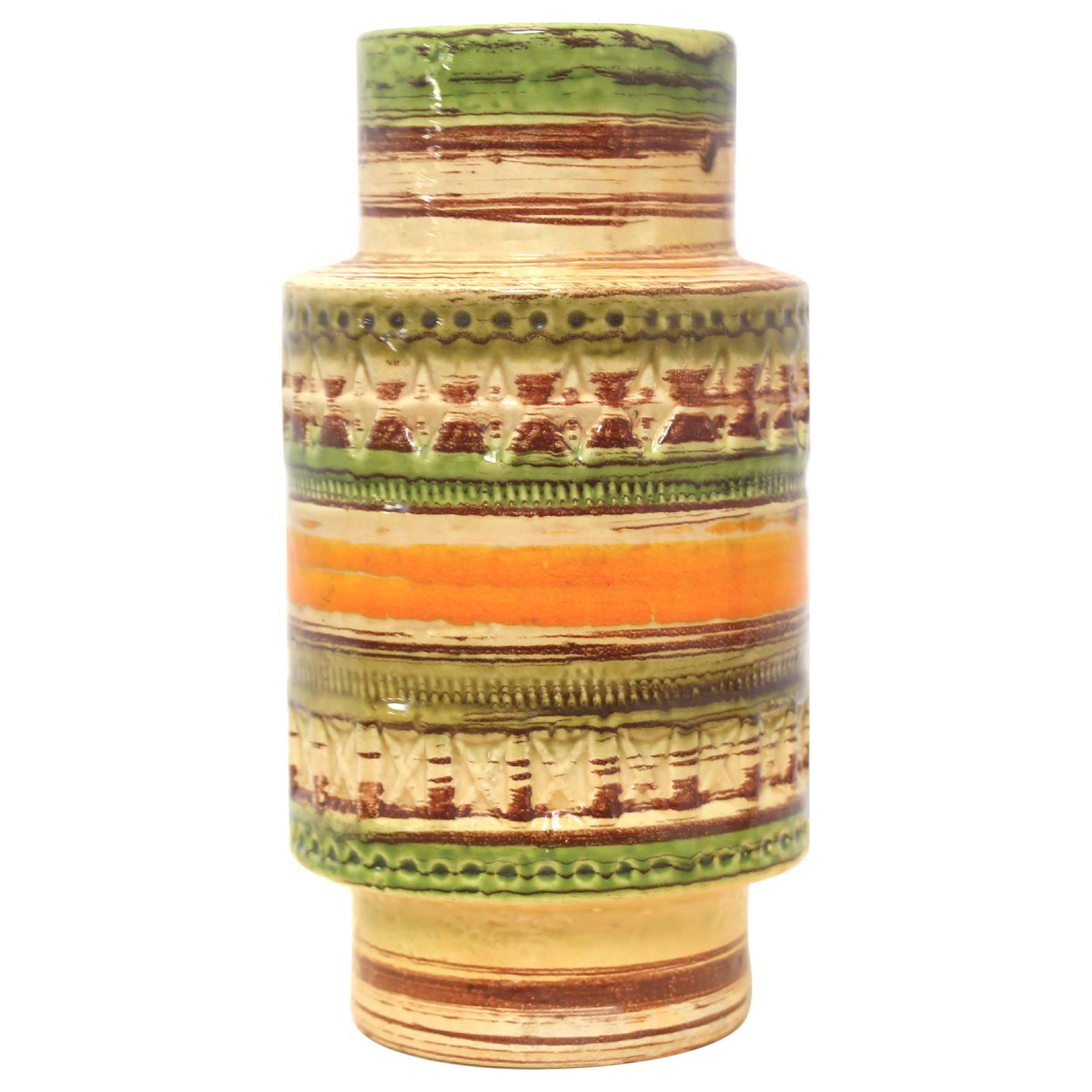 Mid Century Italian Yellow Green Orange Ceramic Vase by Bitossi, 1950s