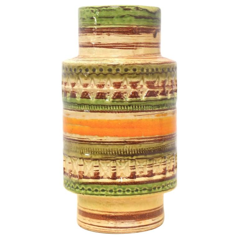 Mid Century Italian Yellow Green Orange Ceramic Vase by Bitossi, 1950s For Sale
