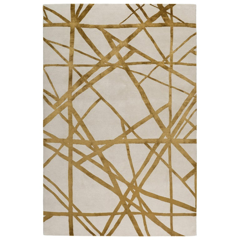 Channels Copper Hand-Knotted 12x9 Rug in Wool and Silk by Kelly Wearstler For Sale