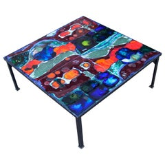 Hanns Altmeier Colorful Ceramic Square Coffee Table, Germany, 1960