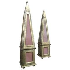 Italian Giltwood Obelisk by Florentia, Pair