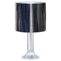 Harvey Guzzini Lucite Table Lamp with Metal Shade, Italy, 1970s