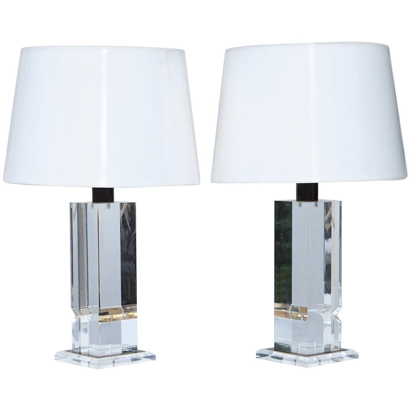 Plexiglas Table Lamps France 1970s
