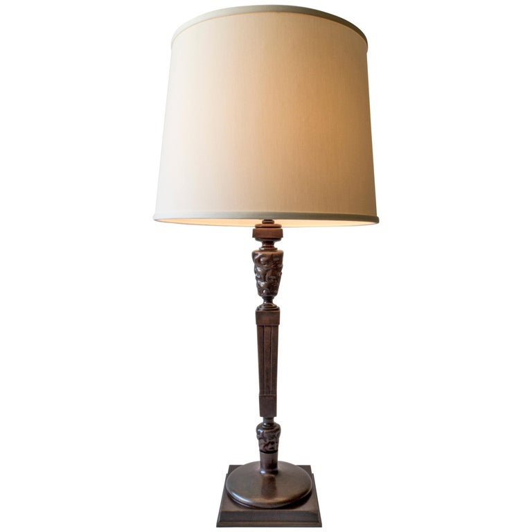 Thorvald Bindesbøll, Rare Danish Patinated Bronze Jugend Table Lamp 1