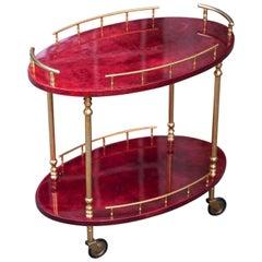 Aldo Tura Oval Red Goatskin Bar Cart