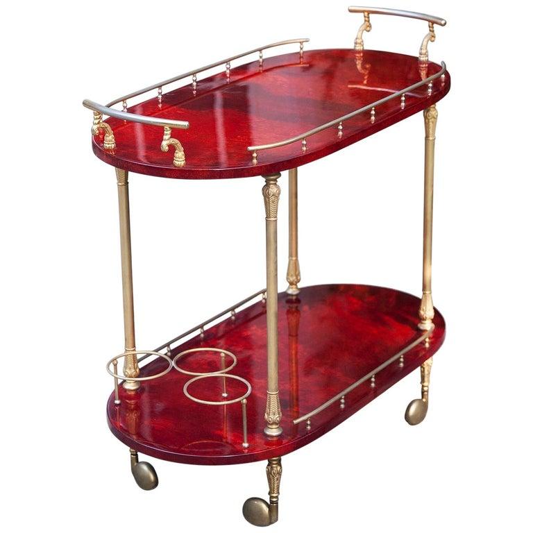 Aldo Tura Red Goatskin Bar Cart For Sale