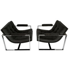 Pair of Milo Baughman Chrome Scoop Lounge Chairs