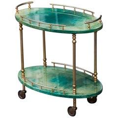 Aldo Tura Oval Green Goatskin Bar Cart
