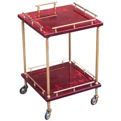 Aldo Tura Squared Purple Red Bar Cart Goatskin