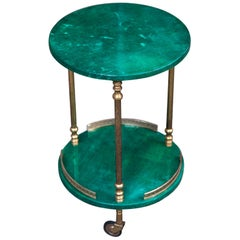 Aldo Tura Round Green Goatskin Bar Serving Cart