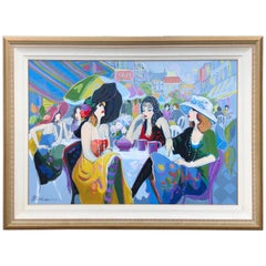 Huge Original Isaac Maimon Oil Painting of a Jazzy Parisian Al Fresco Cafe Scene