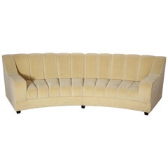 Large Modernist Style Segmented Curved Sofa in Ecru Velvet, Italy