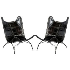 Pair of Modern Black Saddle Leather Camp Chairs