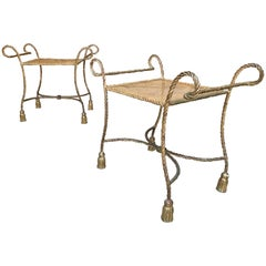 Pair of Italian Gilt Iron Rope and Tassel Benches