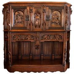 Antique European Gothic Hand Carved Walnut Cabinet