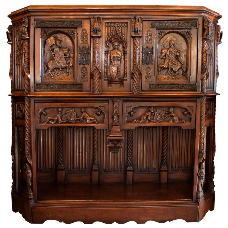 Antique European Gothic Hand Carved Walnut Cabinet For Sale At 1stdibs