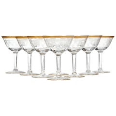 1950s Gilt Rim and Etched Glass Coupes, Set of 8