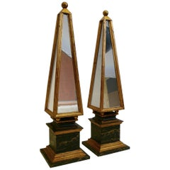 Pair of Italian Mirrored and Polychrome Obelisks