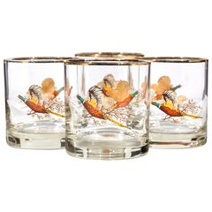 1960s Pheasant Glass Bar Tumblers, Set of 4