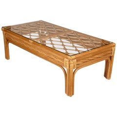 Bamboo and Glass Top Coffee Table, 1970s