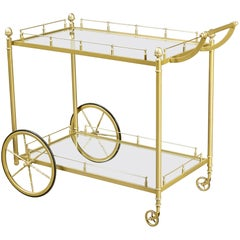 Brass and Glass Rolling Service Cart, 1960s