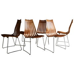 Scandia Dining Chairs Set of Six by Hans Brattrud for Hove Mobler Teak, 1960s